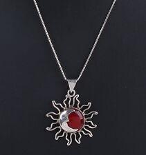 STERLING MEXICO RED JASPER STONE SUN W/ 1/2 MOON PENDANT 925 CHAIN NECKLACE 8288