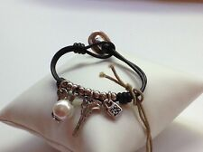 """NWT Uno de 50 Leather/Silver Plated/Charms Bracelet 6"""" """"Man Ojito"""""""