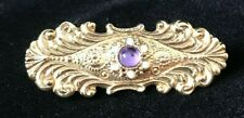 Reproduction Victorian Goldtone Bar Pin with Purple Center Stone