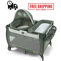 Lightweight Travel Dome Playard Sleep Baby Infant Gray Bassinet Pack 'n Play