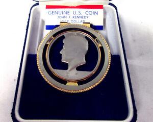 Genuine U.S. Coin Half Dollar John F. Kennedy - SWANK money clip 1971