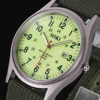 Fashion Military Army Men's Date Canvas Luminous Analog Quartz Sport Wrist Watch