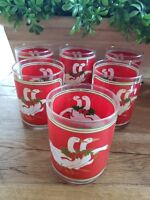 Set of 6 Vintage Glasses by Culver Christmas Geese Gold