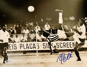 Pele Signed 11x14 Photo Soccer Bike Kick - Autographed Beckett BAS COA