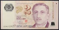Singapore $2 Dollars Banknote * 2EM312427 * UNC * Polymer
