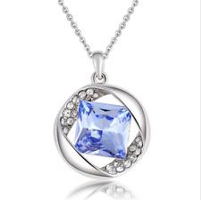 Fashion Womens Blue Diamond Crystal Rhinestone Silver Chain Pendant Necklace