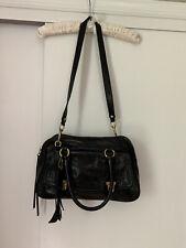 Coach Poppy 17888 Leather Pushlock Satchel Black Shoulder Bag Purse