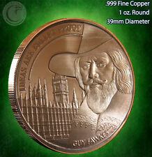 """""""Guy Fawkes - Ideas are Bullet Proof""""   1oz .999 Copper Round Limited & Rare"""