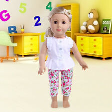 "2Pcs Cute Summer White Sleeveless Blouse+ Floral Pants For 18""Girl Doll Clothes"