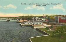 Illinois, IL, Quincy, Naval Reserves Training Center Linen Postcard