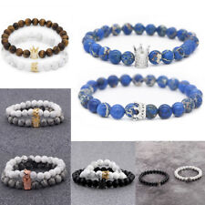 King Queen Crown His And Her 8mm Beads Couple Bracelets Charm Jewellery Gift