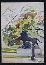 Lion dans un parc aquarelle signée située à Lyon datée 1908 Löwe in einem Park
