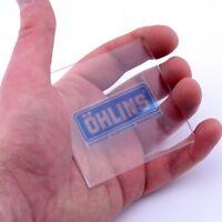 Ohlins CLEAR Stickers Vinyl Decals x2 50mm Window Panel Helmet Suspension