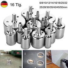 16-tlg. Diamantbohrer Glasbohrer Bohrkrone Glas- Stein- Fliesenbohrer 6-50mm