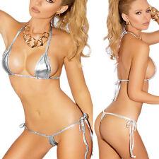 Silver Metallic G String Bikini Micro Stripper Dancer Naughty Costume 6-14