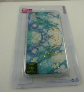 fits iPhone XR phone case wireless charging compatible teal blue gold flakes