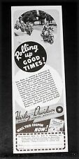 1939 OLD MAGAZINE PRINT AD, HARLEY-DAVIDSON MOTORCYCLE, ROLLING UP GOOD TIMES!