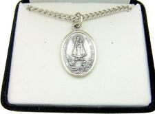 "MRT Virgen de la Caridad de Cobre Oxidized Silver Tone Medal w Box & Chain 3/4"""