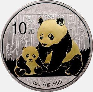 1 OZ Silber 10 Yuan CHINA PANDA 2012 mit Goldapplikation gilded