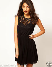 Skater Dress With Lace And Mesh UK 10 EU 38 US 6 Black