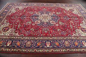 Excellent Geometric Traditional Tabriiz Red Area Rug Hand-made Oriental 7'x10'
