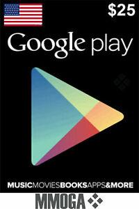 $25 US Dollar Google Play Card Key - 25 USD Prepaid Digital Code - [US]