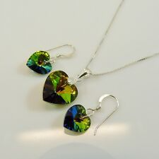 Sterling Silver Necklace Set With Swarovski Elements Crystal Heart Peacock Green