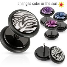 Black Acrylic Fake Plugs with Solar Activated Tiger Print Dome Top O Ring Purple