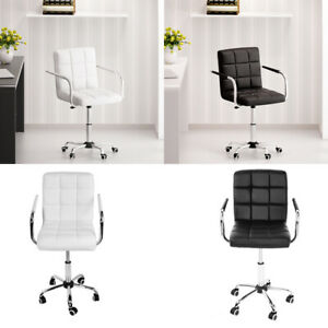 Cushioned Computer Office Desk Chair Chrome Legs Lift Swivel PU Leather Chair UK
