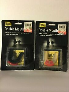 Everlast Double Mouth Guards with storage case lot of 2. Black & Clear moldable.