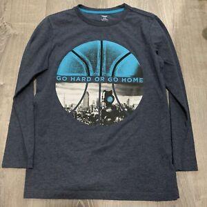 Old Navy Boys Top Sz XL 14 / 16 Blue Go Hard Or Go Home Long Sleeve TShirt H40