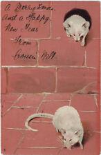 TUCK : ART - White Mice embossed undivided back  -1019