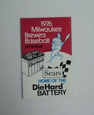 RARE 1976 MLB Milwaukee Brewers Complete Baseball Schedule - NO holes