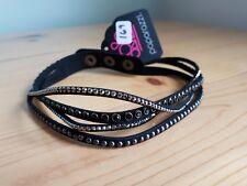 Paparazzi Bracelet (new) BLACK W/ SILVER & BLACK GEMS 169