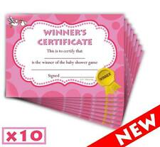 Baby Shower Winners Certificate - Pink Girl - Game Prize Favour Party - 10 Pack