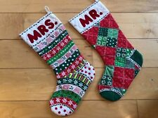Mr Mrs His and Hers Unique Handmade Christmas Stockings Vintage Quilted 18""