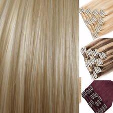 Hair Extensions Real natural look Dark Blonde Burgundy Plum Poppy Red clip in