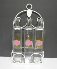 3 Cork Style Bottles with Painted Rose Theme and White Metal Wall mounted Hanger