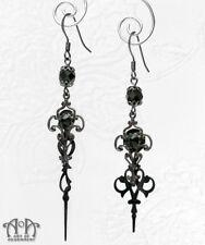 Steampunk Gothic CLOCK HAND EARRINGS Black Gunmetal Filigree Hands Crystal E39