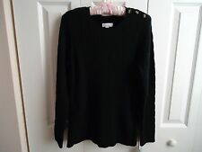 Woman  CHARTER CLUB Sweater (Macys) Sz 0X Deep Black Cable Design Long Sleeve