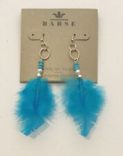 Barse Brand Sterling Silver Feather Genuine Multi-Stone Earrings Turquoise Blue