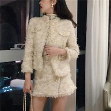 Women Designer Metal Button Tweed Tassel Jacket Highwaisted Mini Skirt 2Pcs Suit
