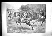 Old 1899 Drag Hunt Epping Forest Hunting Horses Lady Curzon Wife Vice 19th