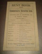 VINTAGE 1942 BRAMHALL MANCHESTER RENT BOOK - Commercial Estates Ltd.