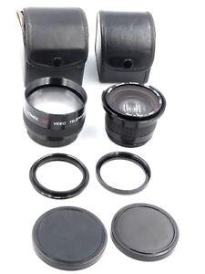 Pair of LOMEX Video Camera Lenses, Japan. Telephoto 2x, Macro Wide 0.42x