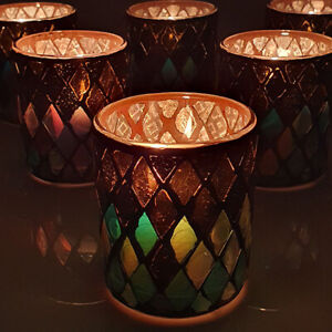 6 X OFFICIAL YANKEE AUTUMN MOSAIC GLASS VOTIVE CANDLE HOLDERS WITH FAST DELIVERY