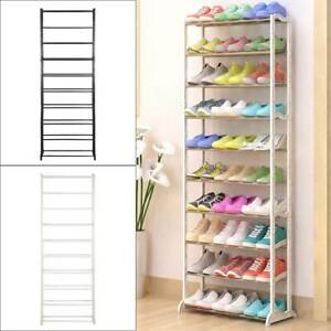 10 TIERS 30 PAIRS SHOE RACK SHOES SHELVES ORGANIZER STAND STORAGE EASY ASSEMBLE