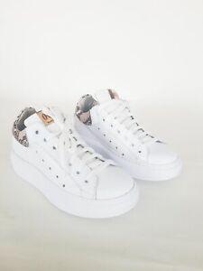 OVYE' Scarpe Sneakers AM388 Bianco Pitonato.