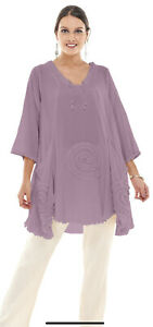 Oh My Gauze Asymmetrical Circle Tunic Top O/S