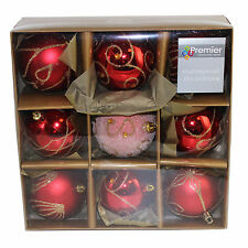 Christmas Tree Decoration 9 Pack 80mm Shatterproof Baubles - Red